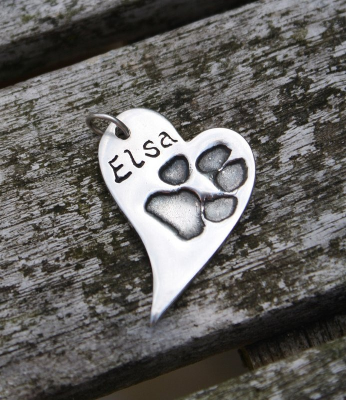 contemporary heart paw print charm