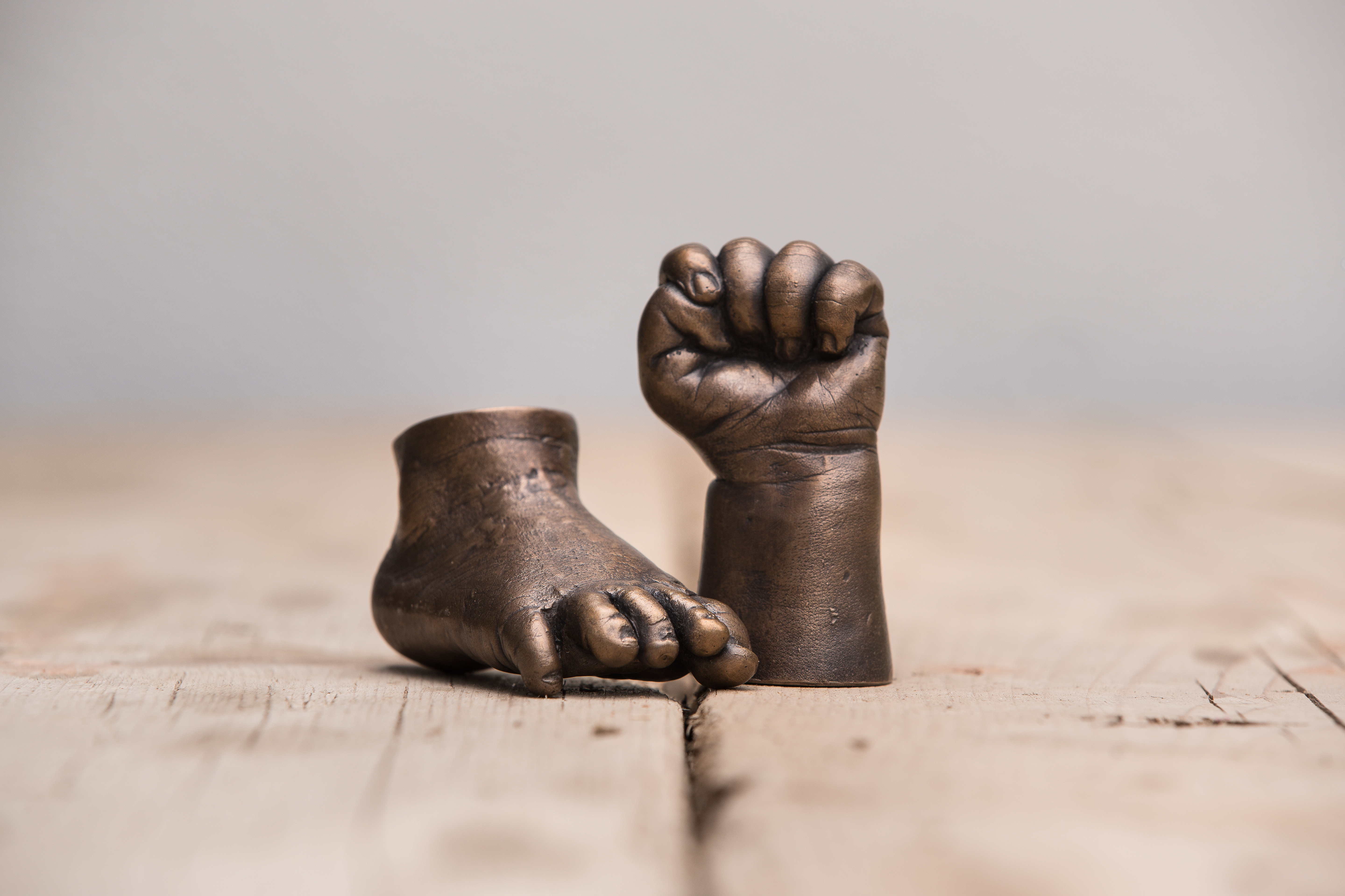 3d baby and and foot cast in solid bronze