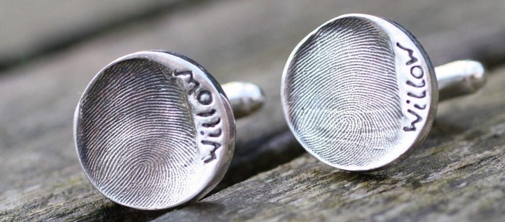 silver circle fingerprint of your child cufflinks