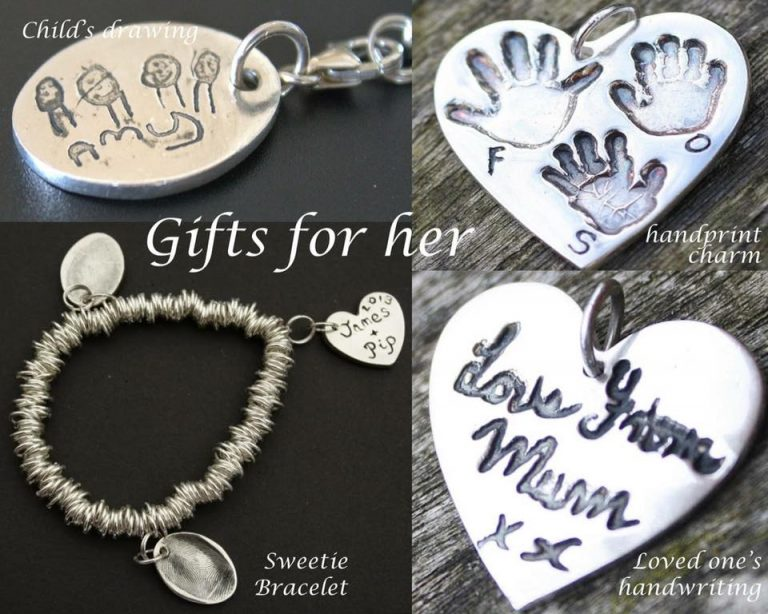 silver fingeprint charms for mum