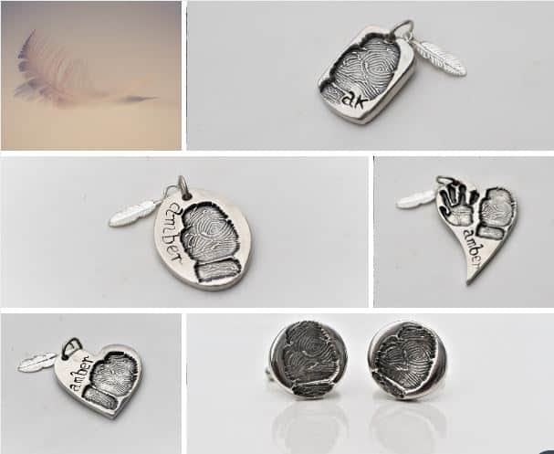 Silver fingeprint jewellery - memorial jewellery