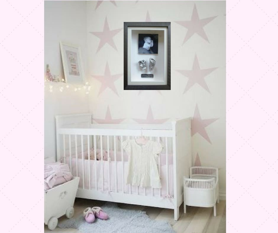 silver frame with 3d baby hand and foot cast
