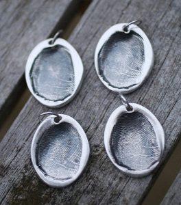 Silver oval fingerprint Charms In Loving Memory