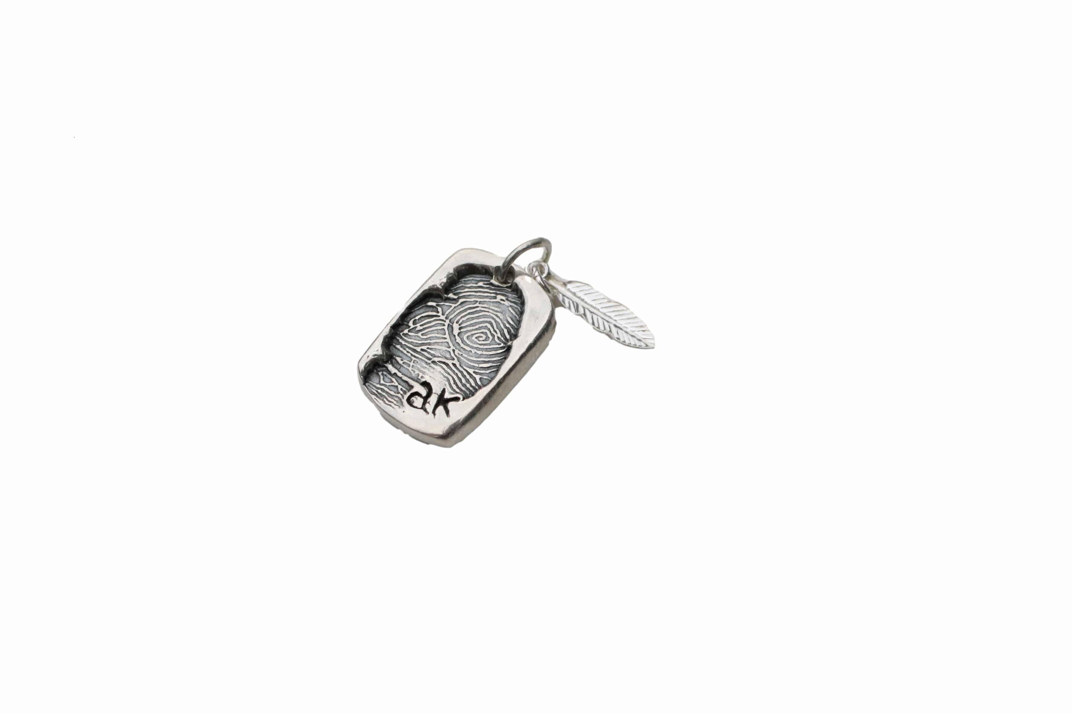 dog tag fingerprint charm memorial jewellery