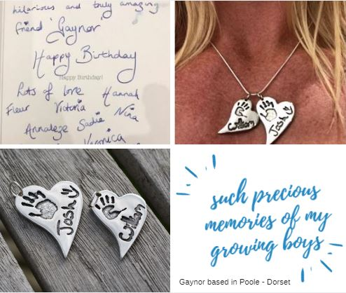 client testimonial of to silver heart handprint charms