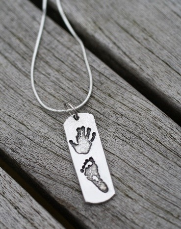 hand and foot silver dog tag for dad