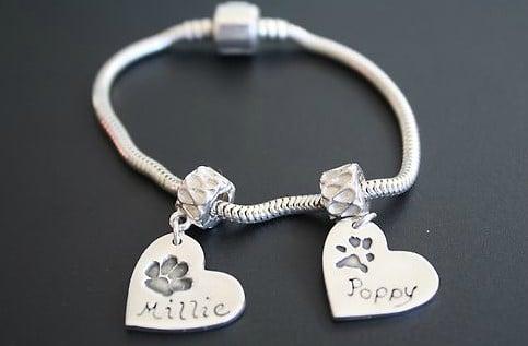 pandora style bracelet with heart paw print