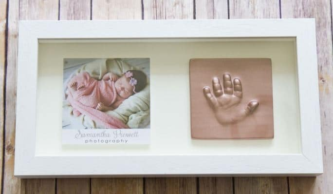 2D Impressions Baby Hand Tile in Clay and Plaster Rose Pink