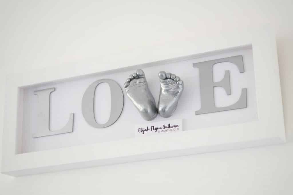 love sign 3d cast baby feet white frame poole dorset
