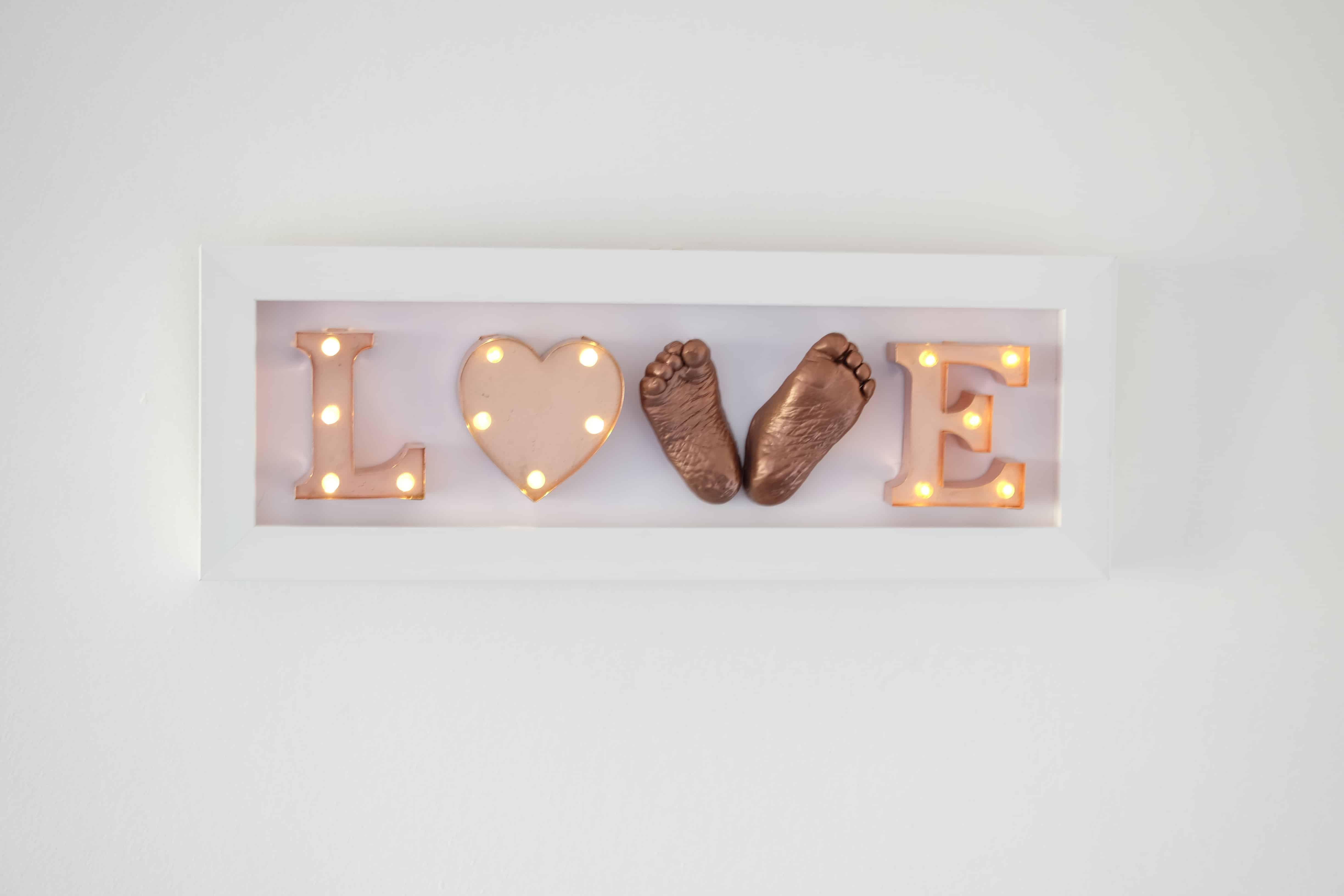 3D Baby Feet with Light Up Letters Love Frame