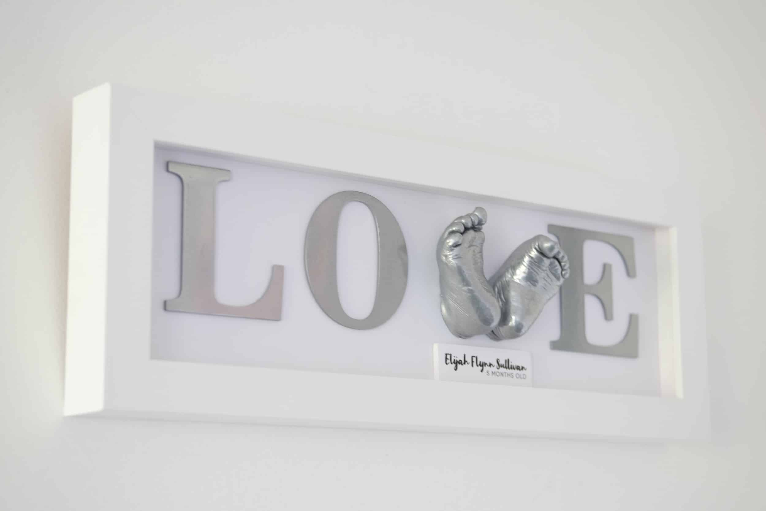 love sign 3d cast baby feet white frame poole