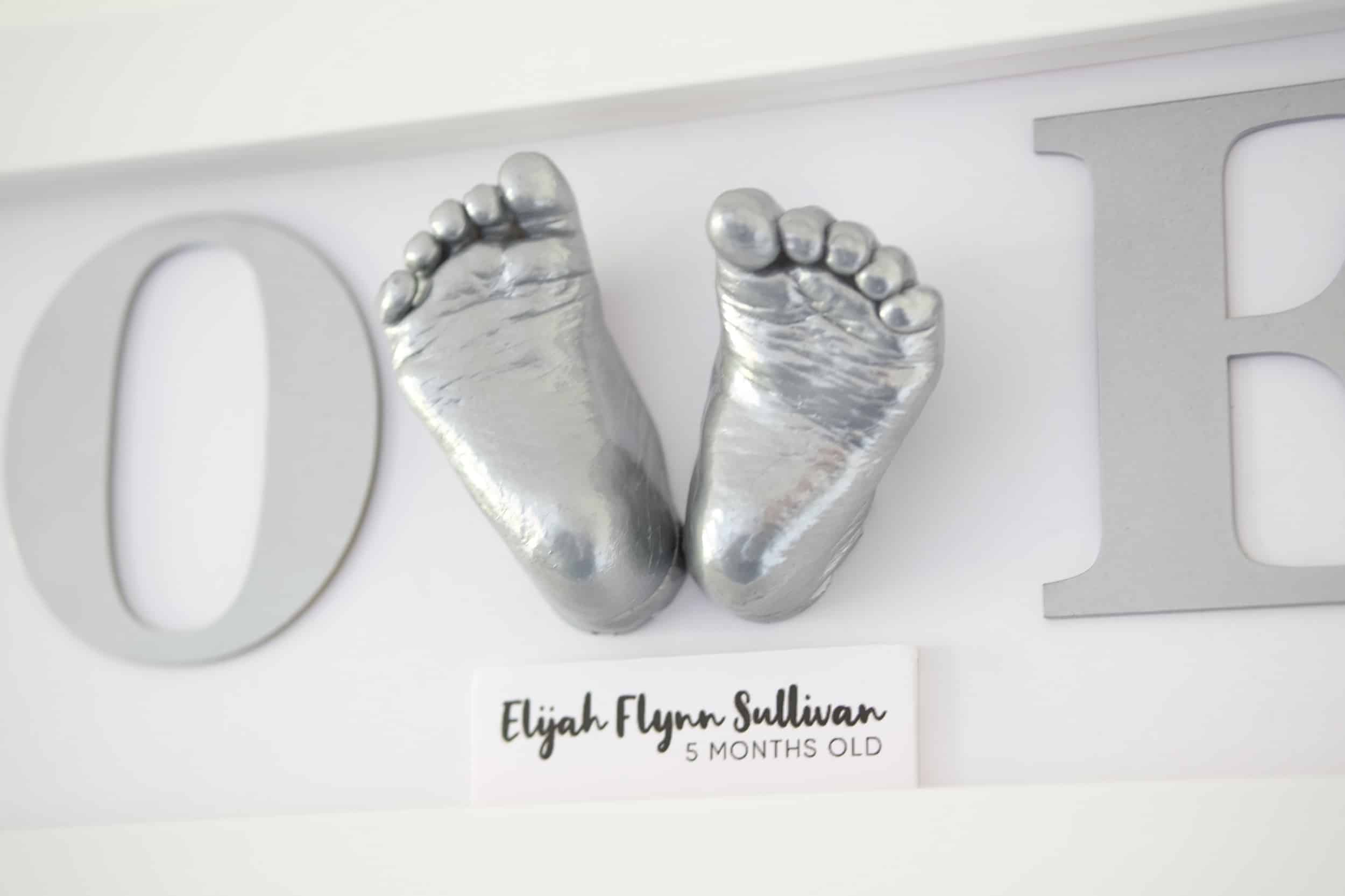 close up silver 3d baby feet in love frame poole dorset