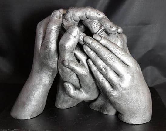 3D family handcasting statue on slate mount