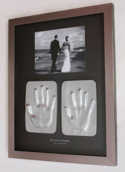 Bride and Groom 2D Hand Tile Impression with a photo in a frame