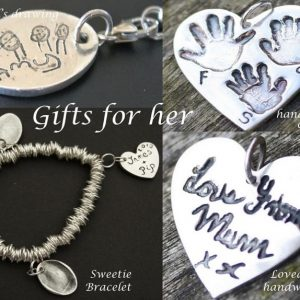 Silver fingerprint jewellery gift for mothers day in Dorset