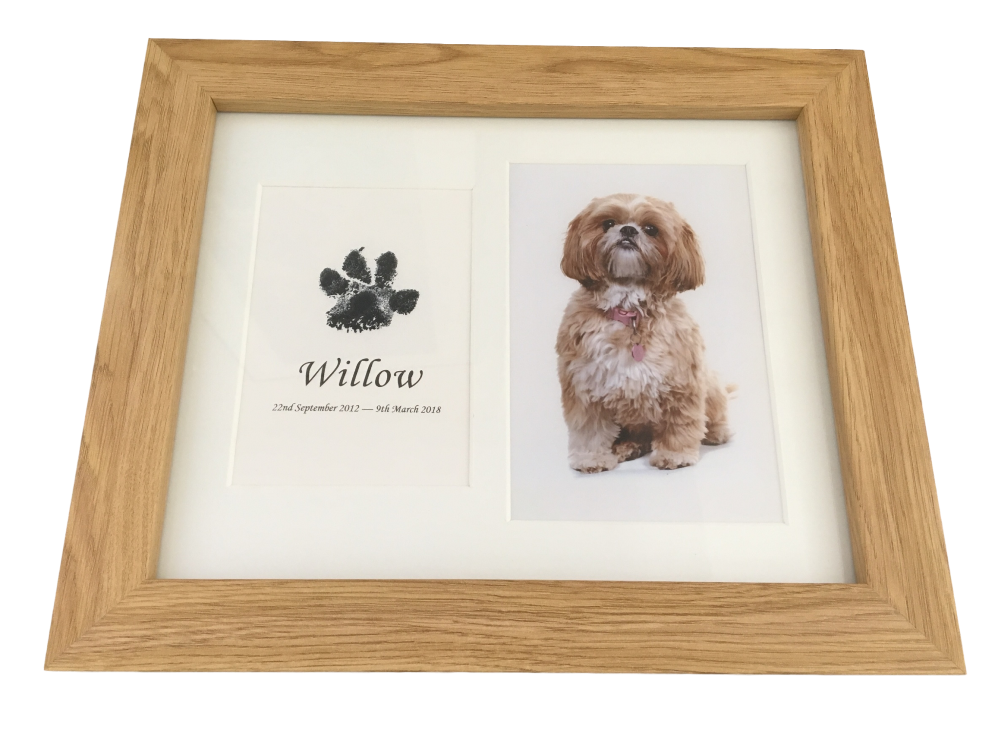 dog paw print in wood frame with photograph using inkless wipe kit