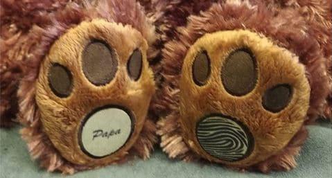 Fingerprint pad on memory bear at precious memories 3d casting studio in poole dorset