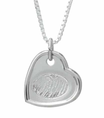 Sterling silver indented heart pendant with laser etched fingerprint
