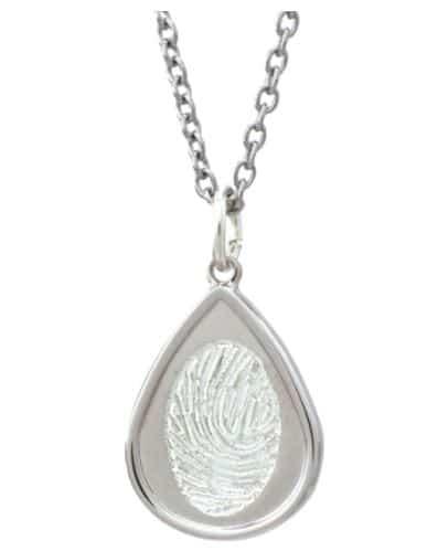 Sterling silver indented teardrop pendant with laser etched fingerprint