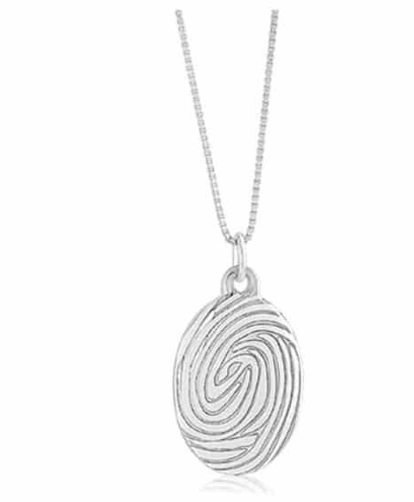 Sterling silver large oval pendant with laser etched fingerprint
