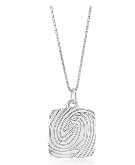 Sterling silver large square pendant with laser etched fingerprint