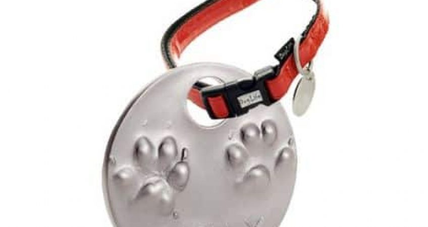 2d paw print impression tile with dog collar