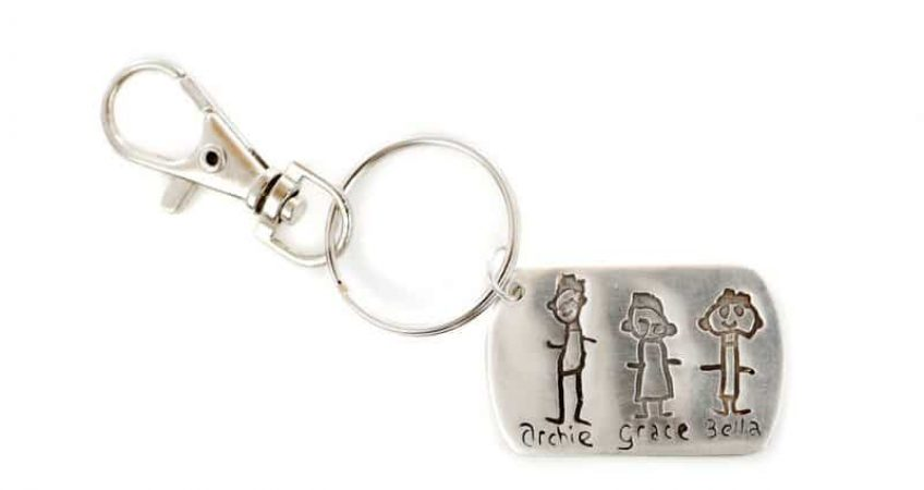 childs drawing charm into a keyring