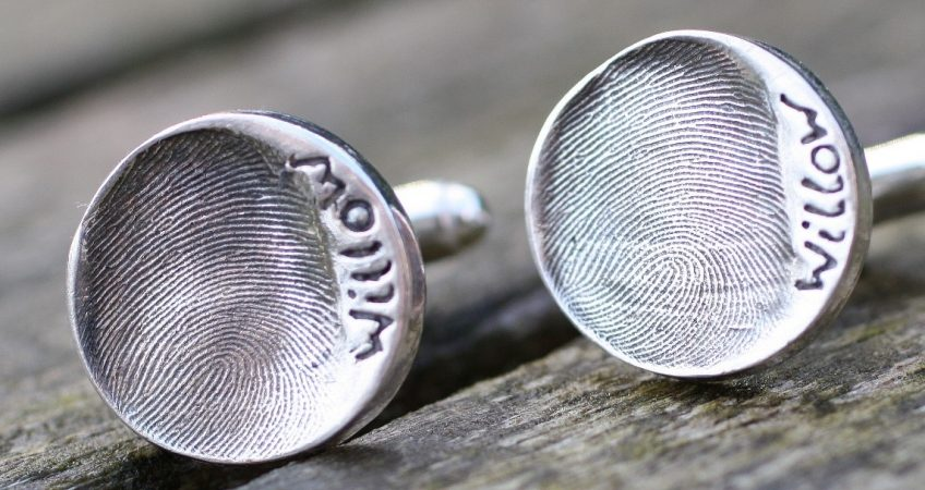 silver circle fingerprint of your child cufflinks