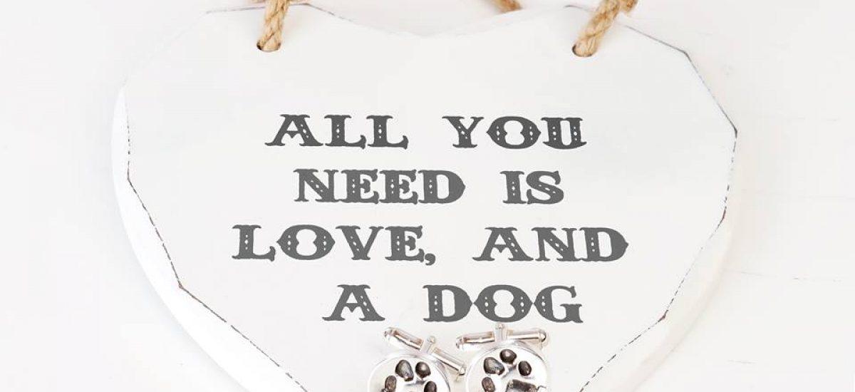 dog cufflinks with heart